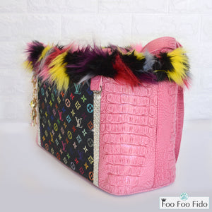 Pink Faux Crocodile Designer Dog Carrier