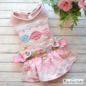 Crochet Pink Leather Dog Harness Dress