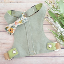 Choke Free and Adjustable Linen Dog Harness Vest in Nile Green
