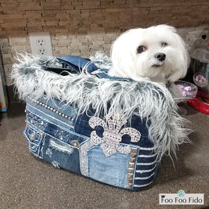Denim Diva Dog Fleur de Lis Pet Carrier Purse