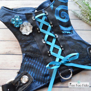 Black and Blue Tori Dog Harness Vest