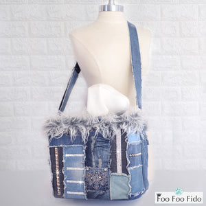 Denim and Diamonds Patchwork Small Dog Bag
