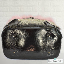 Black Leather Bling Pet Carrier Bag
