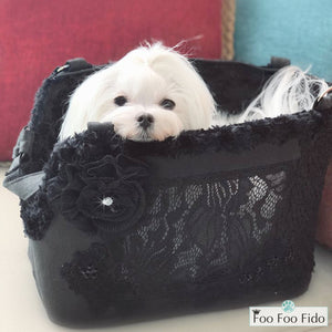 Hideaway Air Travel Pet Carrier Purse in Black