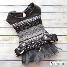 Onyx Leather Feather Harness Dress