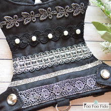 Black and Crochet Shabby Chic Dog Harness