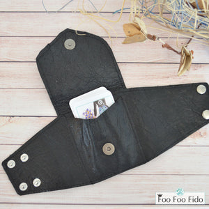 Wrist Wallet Cuff in Black with Patent Leather Pocket