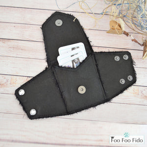 Wrist Wallet Cuff in Black Frayed Denim