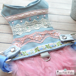 Pink and Blue Leather Feather Dress