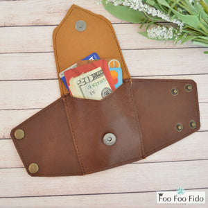 Wrist Wallet Cuff in Brown Leather