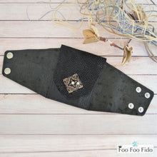 Wrist Wallet Cuff in Black Leather