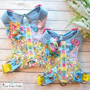 Confetti and Denim Harness Vest