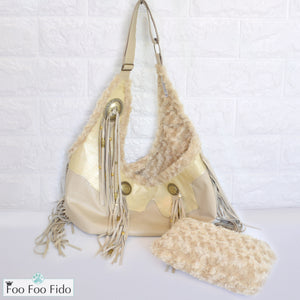 Cream Leather Fringe and Concho Crossbody Sling