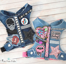 No Apologies Denim Fabric Dog Harness Vest