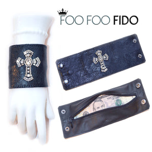 Leather Bracelet Hidden Wallet Cuff Foofoofido