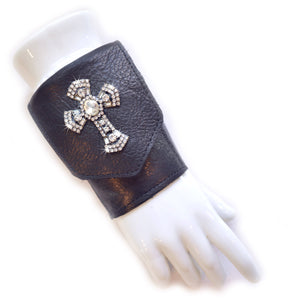 Wrist Wallet Cuff Black Leather with Crystal Cross