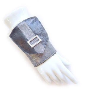 Wrist Wallet Cuff in Black and Silver Leather