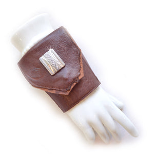Wrist Wallet Cuff Brown Leather