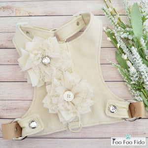 Custom Adjustable Dog Harness Vest in Ivory