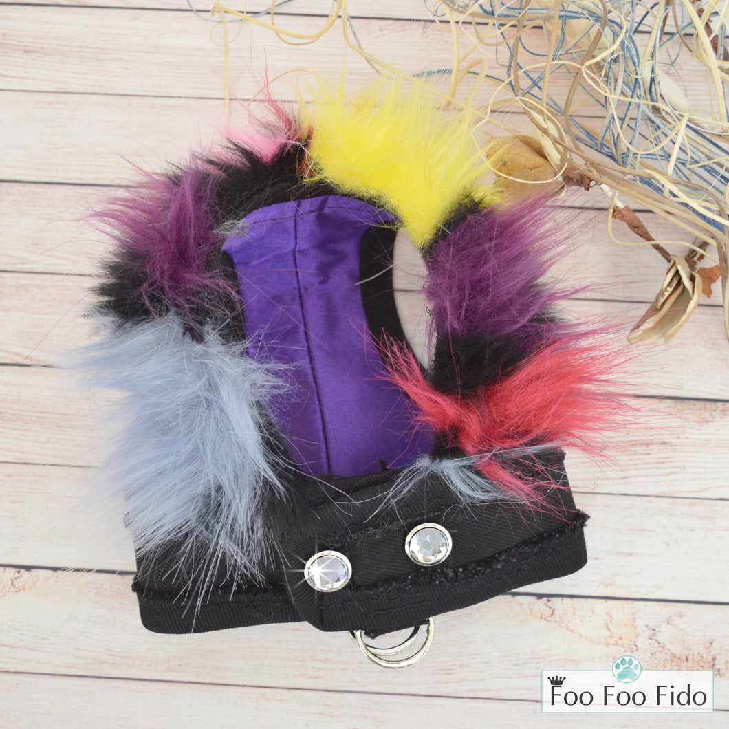 Little Monster Denim Fabric and Multi Faux Fur Step in Dog Harness