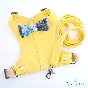 Choke Free and Adjustable Linen Dog Harness Vest in Meadowlark