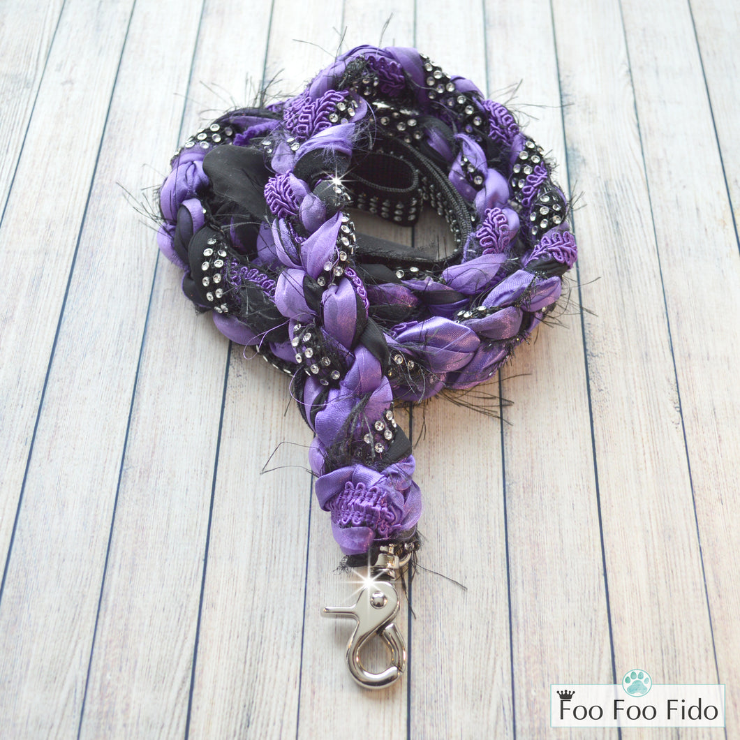 Fancy Shmancy Black and Purple Dog Leash