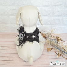 Sequin and Lace Skull Denim Fabric Step in Dog Harness