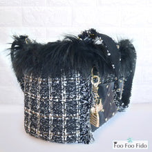 Chez Paree Black Tweed Designer Pet Carrier Purse