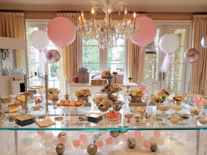 High Tea, Balloons, Flowers, Bridal Showers, Dessert Spread, Tulle, Jewels, Luxury, Paris Hilton