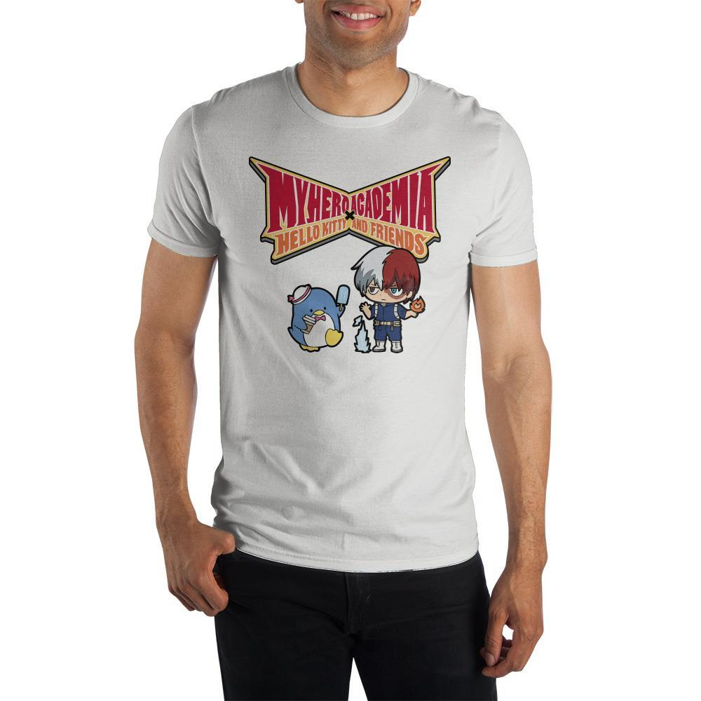 Hello Kitty and My Hero Academia Anime Mens White Shirt - SPNDER, LLC