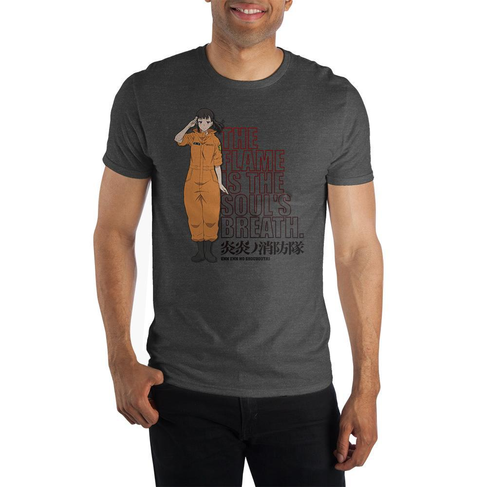Fire Force Anime Cartoon Mens Grey Short Sleeve Shirt - SPNDER, LLC