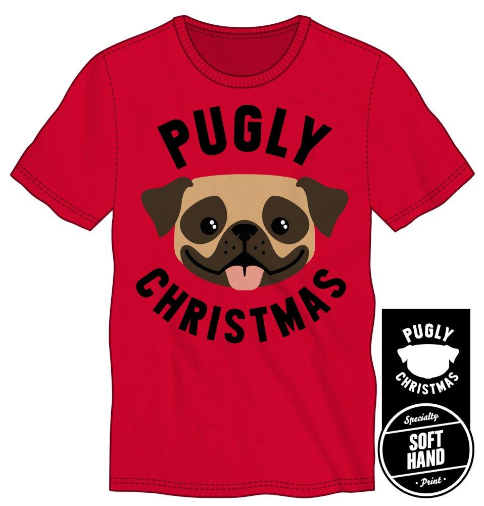 Men's Happy Pug Pugly Christmas Soft Hand Print Shirt - SPNDER, LLC