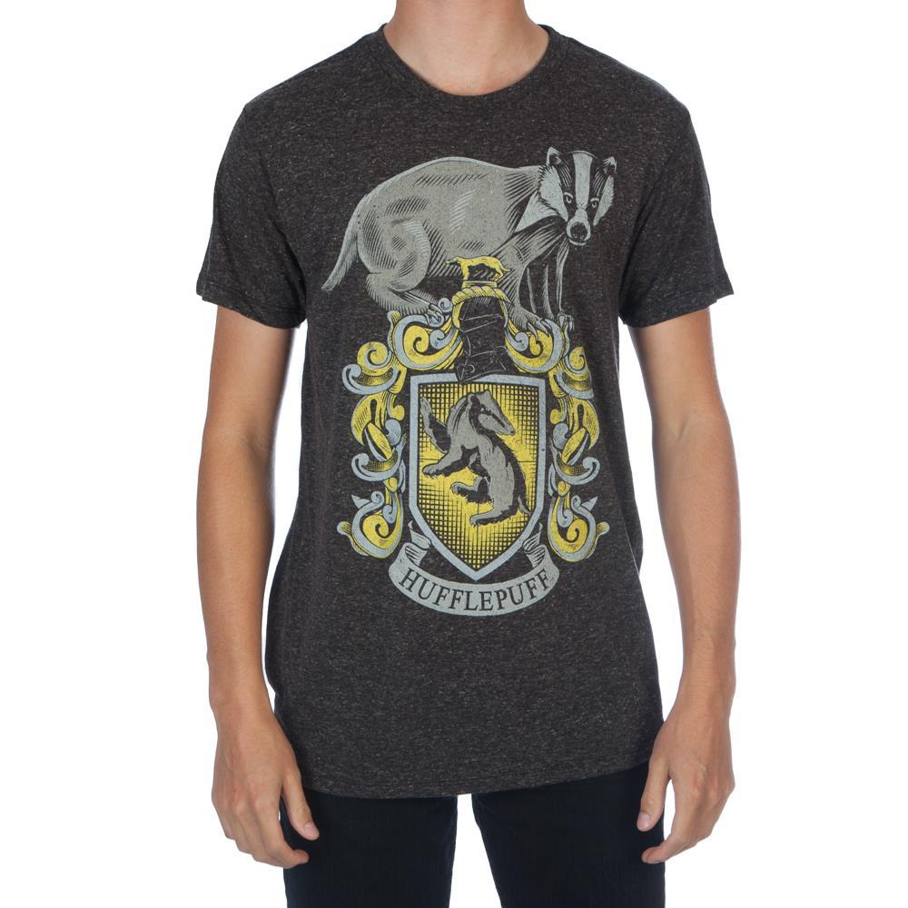 Harry Potter Hogwarts House of Hufflepuff Crest & Badger Men's Black Tee T-Shirt Shirt - SPNDER, LLC