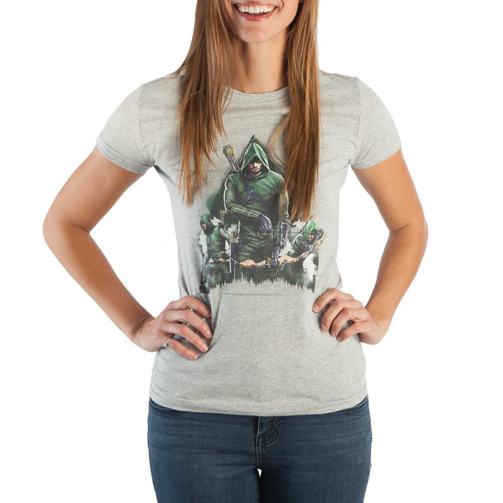DC Comics Green Arrow Women's Gray Tee Shirt T-Shirt - SPNDER, LLC