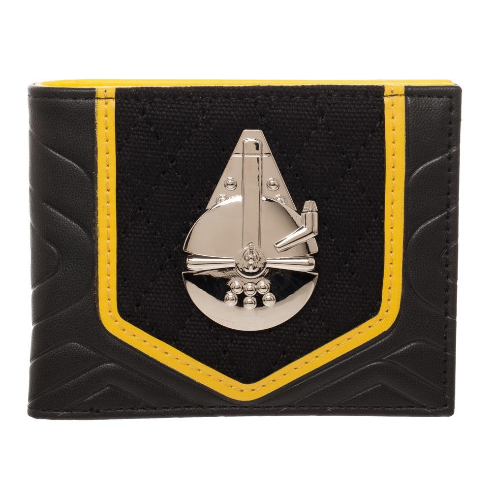 Star Wars Solo Black and Gold BiFold Wallet, PU with Shiny Millenium Falcon, Disney - SPNDER, LLC