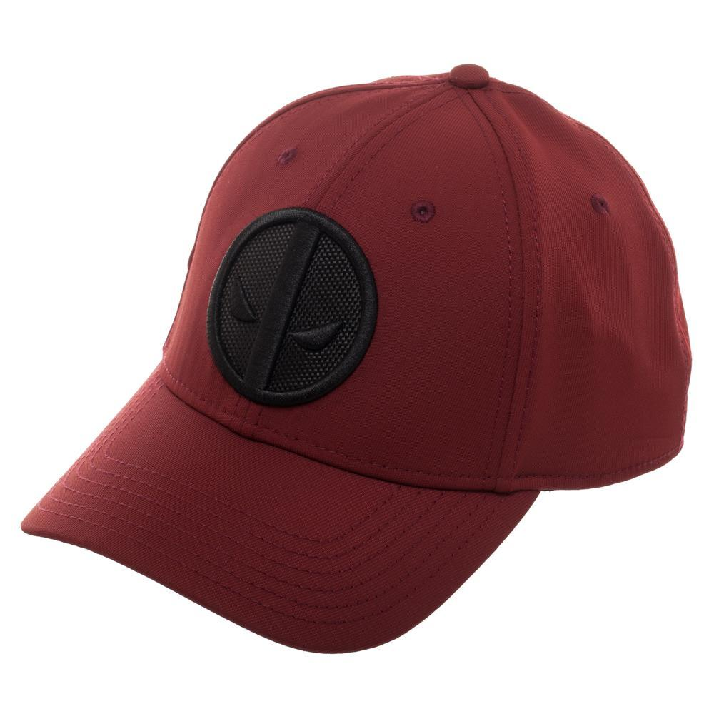 Marvel Deadpool Red Logo Flatbill, Black Patch Insignia with Stitching, Merc With A Mouth - SPNDER, LLC