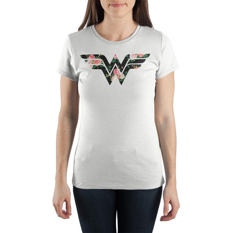 Wonder Woman Flower Logo Women's White T-Shirt Tee Shirt - SPNDER, LLC