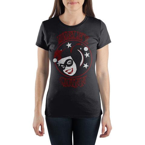 DC Comics Supervillian Harley Quinn Face With Stars Women's Black Tee Shirt T-Shirt - SPNDER, LLC