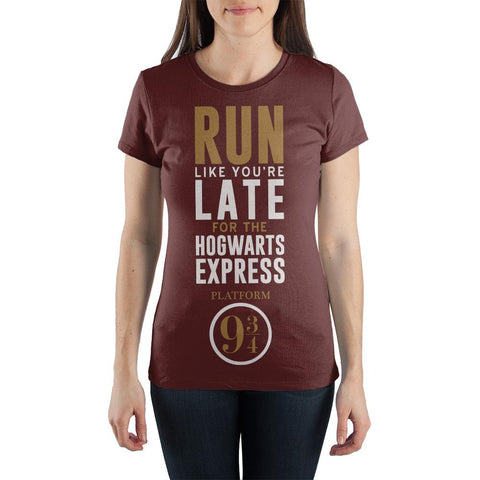 Harry Potter Run Like You're Late For The Hogwarts Express Platform 9 3/4 Women's Burgundy T-Shirt - SPNDER, LLC