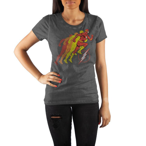DC Comics Flash Running Logo Women's Black T-Shirt - SPNDER, LLC