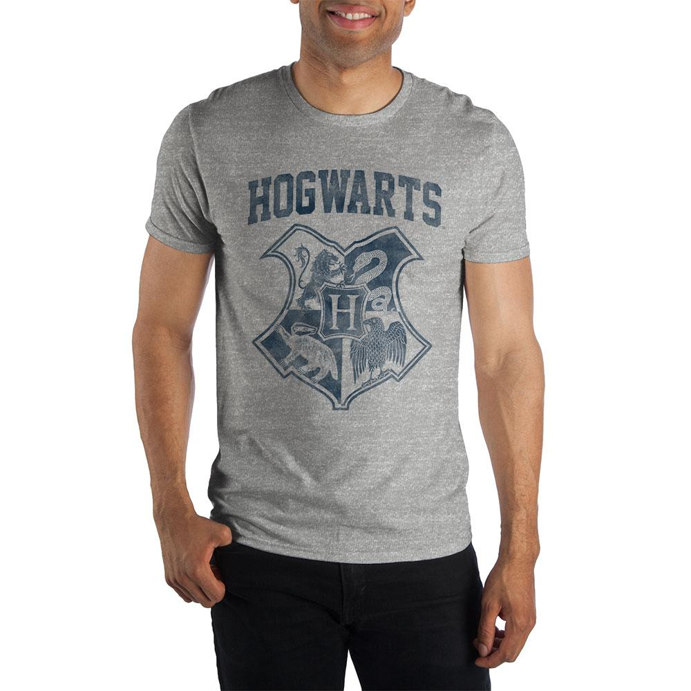 Harry Potter Hogwarts Crest Four Houses Gryffindor Slytherin Hufflepuff Ravenclaw Men's Gray T-Shirt - SPNDER, LLC