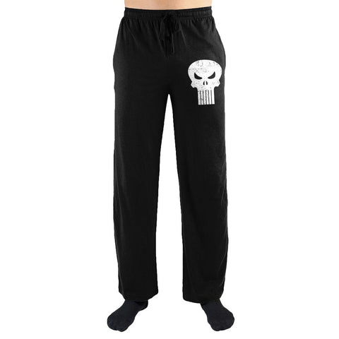 Marvel Comics The Punisher White Skull Print Men's Lounge Pants - SPNDER, LLC