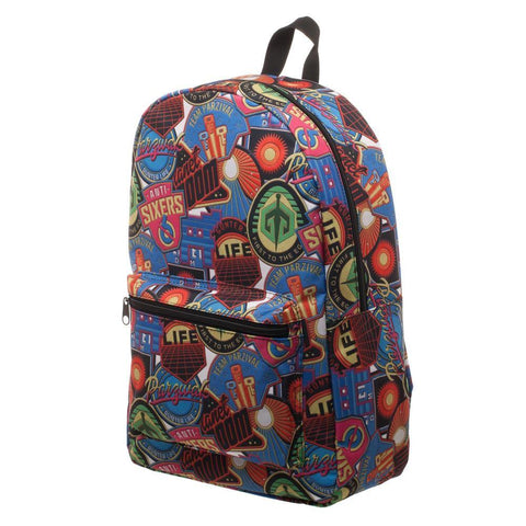 Ready Player One OASIS Patches Backpack, Polyester Sublimated Knapsack with Pocket, Gamer Tech Ready - SPNDER
