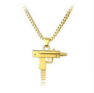 Gold Uzi Gun Necklace