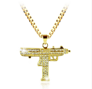 Two Diamond Encrusted Uzi Gun Necklace (Limited Offer)