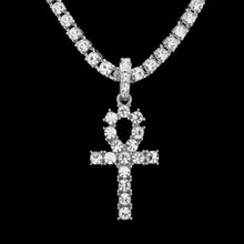 Egyptian Ankh 5mm Single Row Cz Necklace
