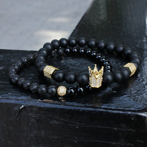 Black Obsedian Cz Crown Natural Beaded Bracelet (2pc)