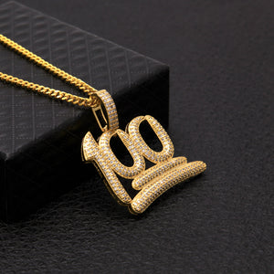 "Gold ""100"" Emoji Cz Necklace"
