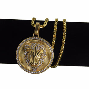 Gold LIon Head Cz Medallion Necklace