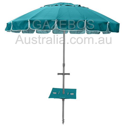 Beachkit maxibrella tourquise beach umbrella with table